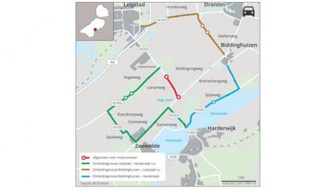 Weekendafsluiting kruising Gooiseweg/Laserweg (Zeewolde/Lelystad)